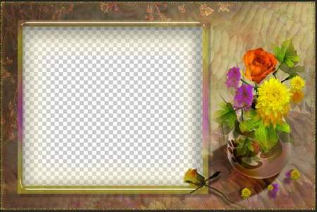 PSD Frame for photo - Autumn bouquet