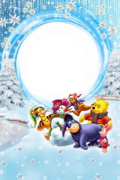 Children's Winter frame with cartoon Winnie the Pooh - Let's play in the snow