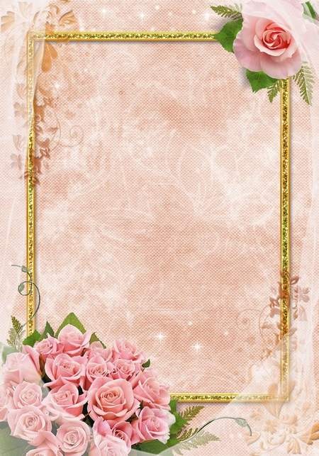 Romantic frame with pink roses - Pink elegance