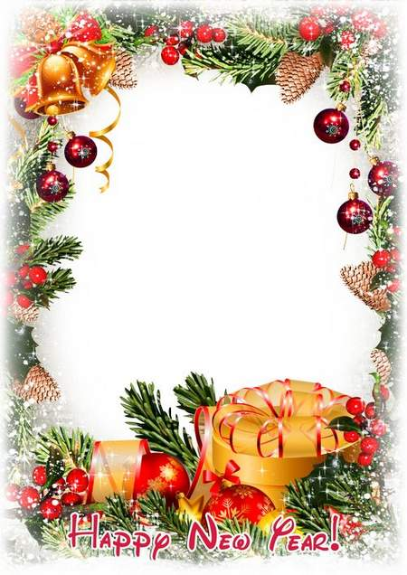 Photo frame psd Merry Christmas or Happy New Year