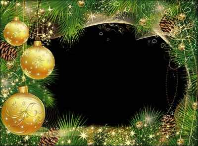 Christmas Photo Frame psd - Shiny beads on the tree-rich, like golden rain