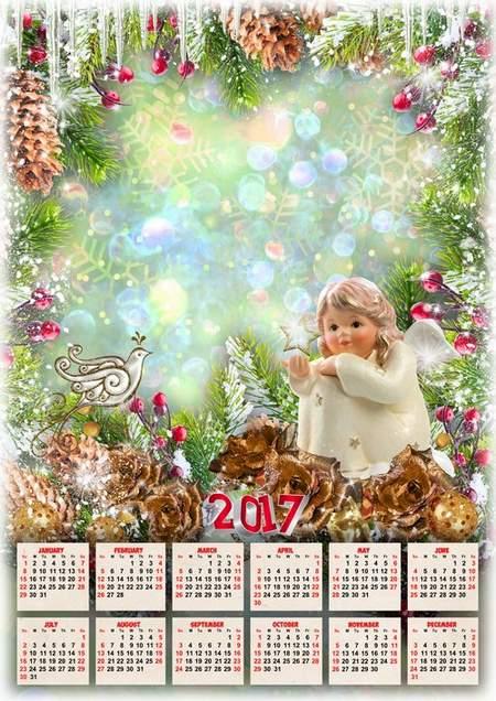 PSD Calendar 2017 with Christmas angel for Photoshop