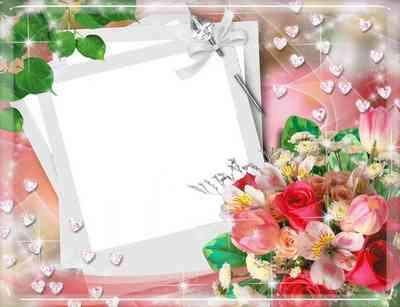 Photo Frame psd for your photo – Red Roses bouquet ( free photo frame psd, free download )