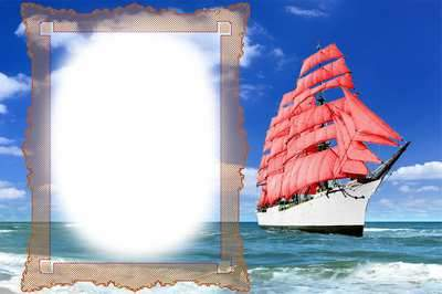 Romantic frame - Red Sails, Assol ( free photo frame psd, free download )