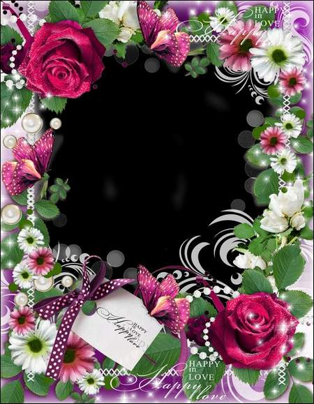 Gentle romantic frame for a photoshop - Love, love... ( free photo frame psd, free download )