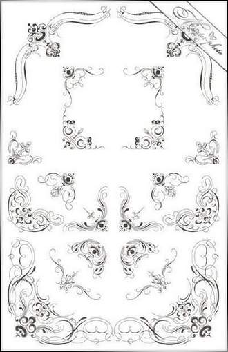 PSD Clipart Decorative corners for Photoshop ( free psd Clipart, free download )
