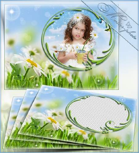 Children summer photo frame psd template with green grass and daisies