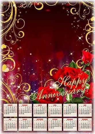 2017 Calendar frame psd - Happy Anniversary! ( free Calendar psd, free download )