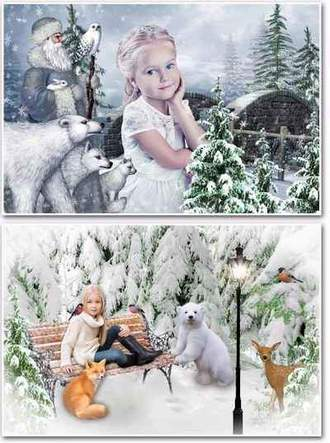 Winter collages psd + photo frame png - Winter Adventure ( free 2 collage psd + free photo frame png, free download )