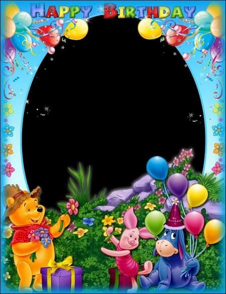 Birthday Photo frame psd - Happy Birthday with Winnie the Pooh