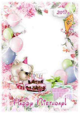 Happy Birthday greeting photo frame template for baby pictures ( free Birthday photo frame psd, free download )