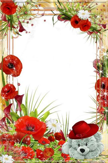 "Flower photo frame "" Look, here and there, red Poppies bloom"
