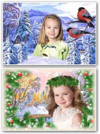 Winter nature psd templates for photo collages download + Winter nature photo frames download