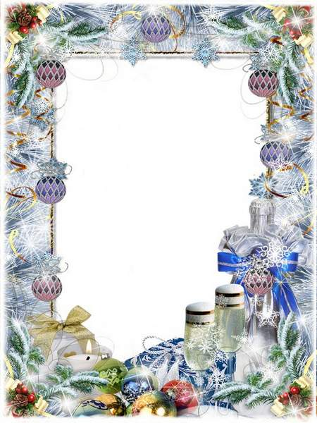 New Year Frame - And shine on the tree needles and branches in snow