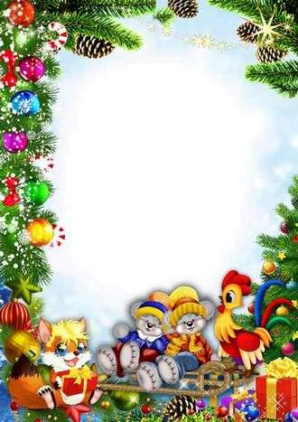 Children's portrait photo frame psd template – Christmas animals ( free photo frame psd, free download )