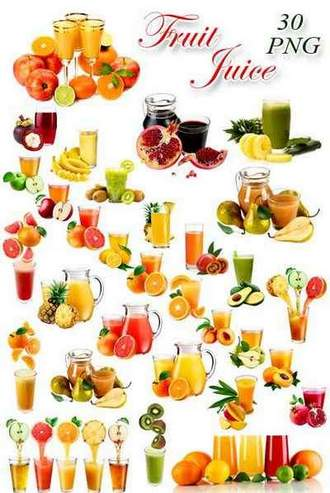 Fruit juices png on a transparent background ( free 30 png images, ~ 3000 x 7100 px, rar 568 mb, free download )