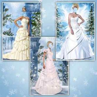 Lady in elegant dresses on winter background ( free 3 psd file, free download )