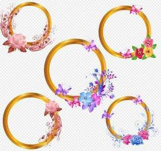 Frames PSD for creative work with flowers and butterflies on a transparent background ( free psd Frames, free download )