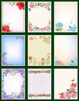 Set of colored backgrounds with flowers