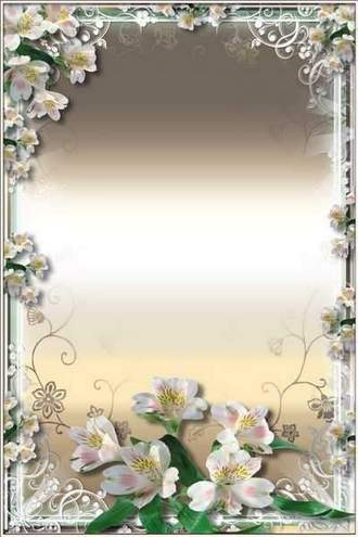 Flower Frame for Photoshop - Purity of White Lilies ( free photo frame psd + free photo frame png, free download )