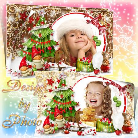 Christmas children's photo frame psd - Gnomes ( free photo frame psd, free download )