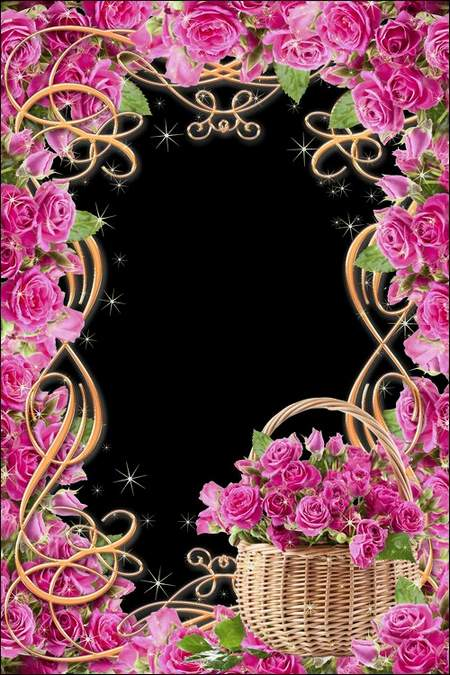 Flower Photo frames download - Love flowers ( free 2 photo frames psd, free download )
