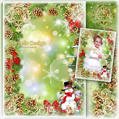 New Year Frame - Our favorite snowman ( free photo frame psd, free download )