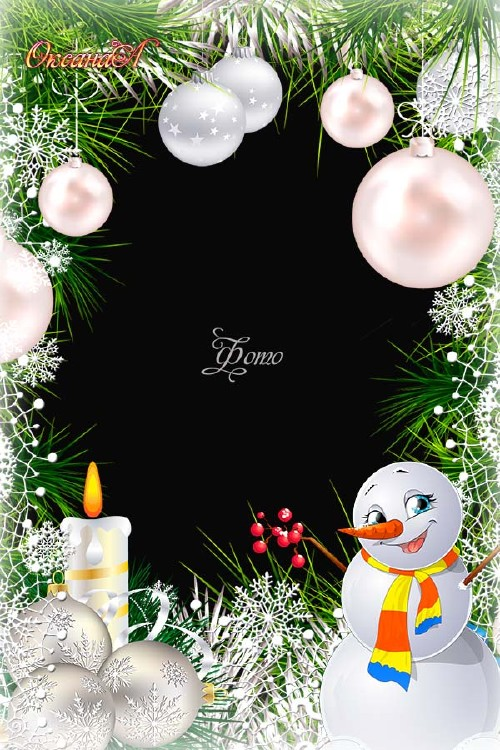 Christmas Photo Frame - Smiling snowman