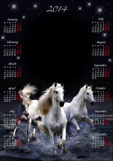 Romantic calendar-frame for Photoshop with White horses