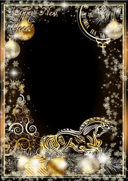 New Year photo frame Golden christmas tree on silvery snow