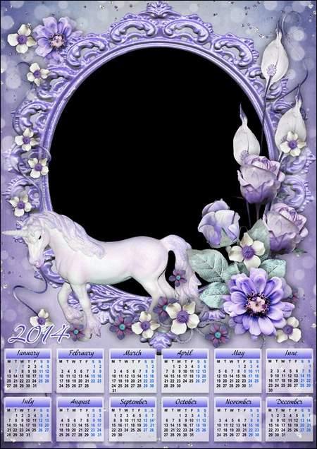 Calendar-photoframe for Photoshop - White Unicorn ( free calendar psd, free download )