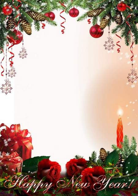 Romantic Christmas Photo Frame - Roses, candles and Christmas tree