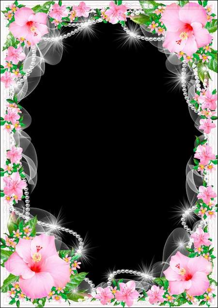 Flower Photo frame download - White pearls among the  pink flowers ( free photo frame psd + free photo frame png, free download )