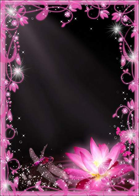 Photo frame - Pink Lotus and Dragonfly ( free photo frame psd + free photo frame png, free download )