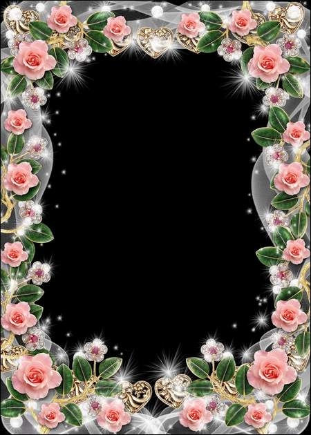 Romantic photo frame - Tender roses and veils