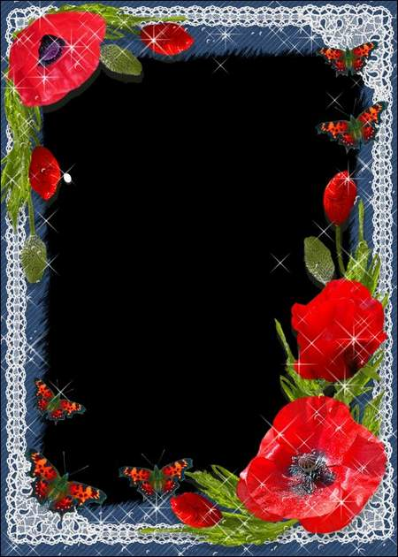 Photo frame - Scarlet poppies on delicate lace ( free photo frame psd, free download )