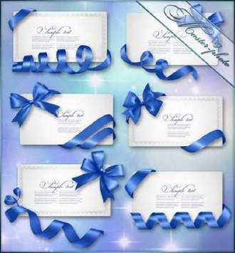 Gift card notes with blue bows with ribbons psd ( free psd file, free download )