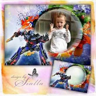 Children's Photo frame for boy - Transformers ( free photo frame psd + free 2 photo frame png, free download )