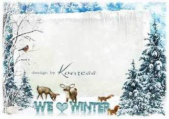 Winter photo frame psd download - We love winter ( free Winter photo frame psd, free download )