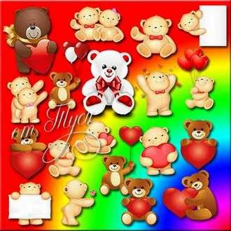 Clipart psd bears with hearts ( free psd file, free download )