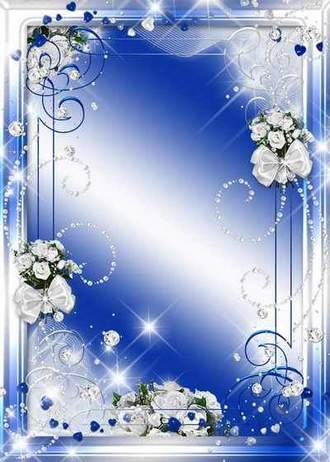 Blue photo frame psd template – Blue with roses ( free photo frame psd, free download )