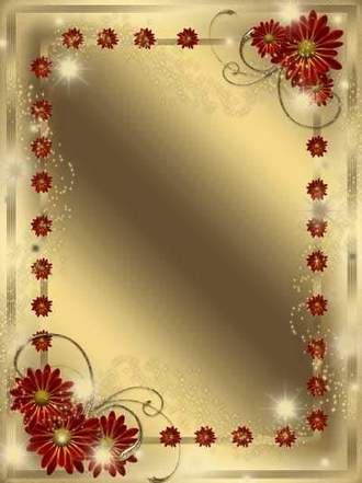 Golden Framework for a photo - Flowers always perfect ( free photo frame psd, free download )
