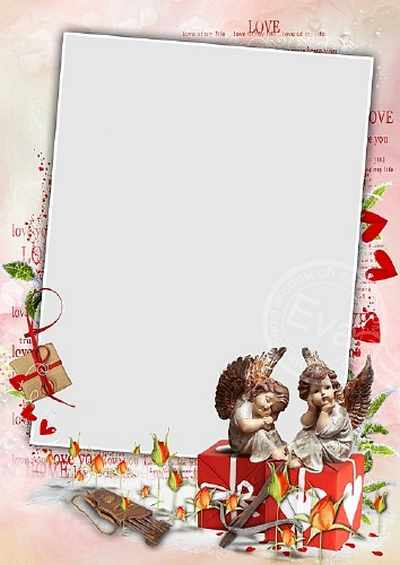 Valentine Frame for photos - Cupids and Valentine's Day (free 2 photo frames psd + free 5 photo frames png, free download)