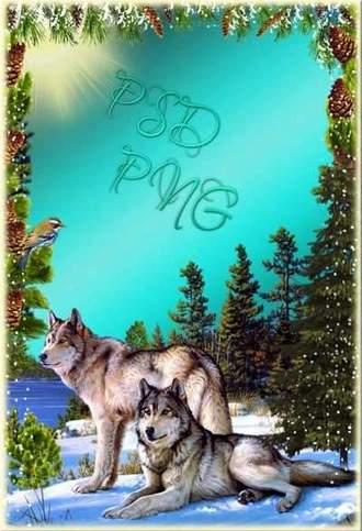 Winter landscape with wolves - Winter Frame for photo ( free photo frame psd + free photo frame png, free download )