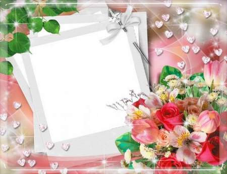 Photo Frame psd for your photo – Red Roses bouquet