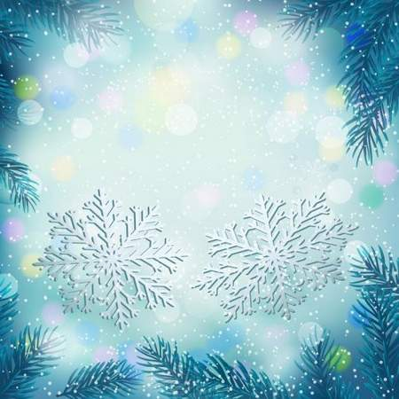Blue winter background psd - snowflakes, fir-tree branches