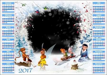 Winter Calendar frame psd 2017 for Photoshop