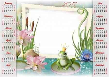 2017 Photoshop Calendar frame psd template - the frog Princess