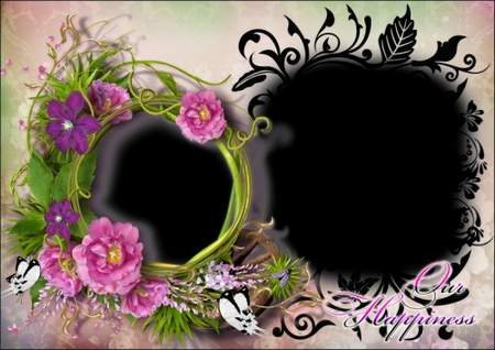 Photo frame template with flowers for 2 photo - Our happiness