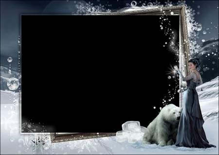 Winter Photoshop frame template ( free 2 photo frames psd + free 3 photo frames png, free download )